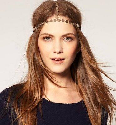Gold-coin elastic head chain