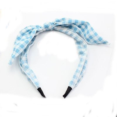 Gingham patterned headband with bow