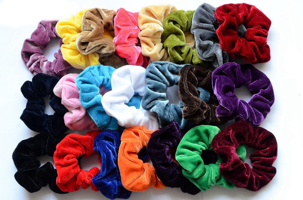 Soft velvet scrunchies