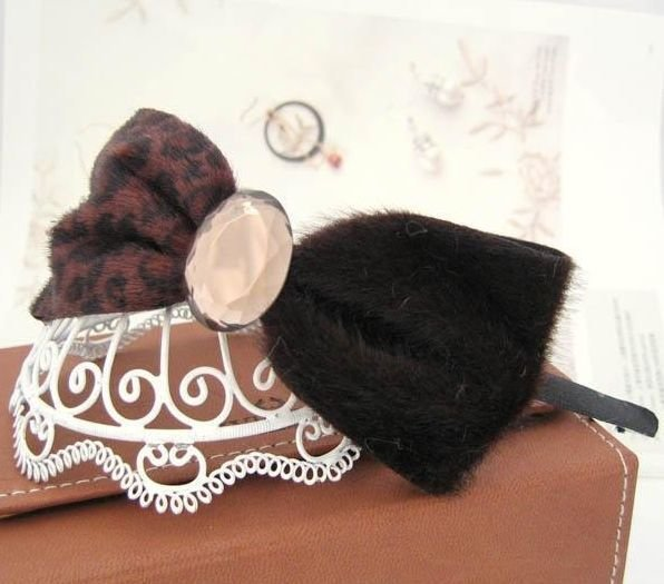 Leopard crystal bow-tie headband 00022