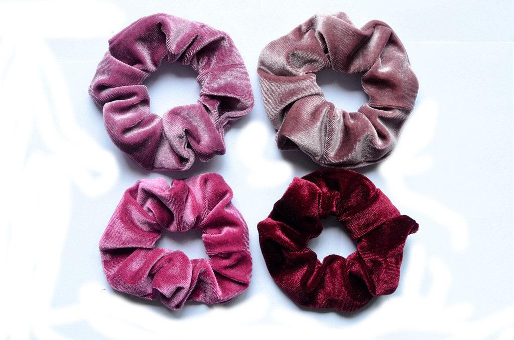 Smooth velvet scrunchies