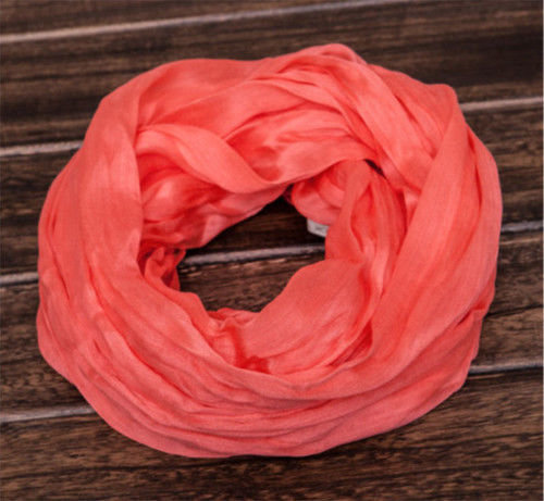 Plain colours silk infinity scarf