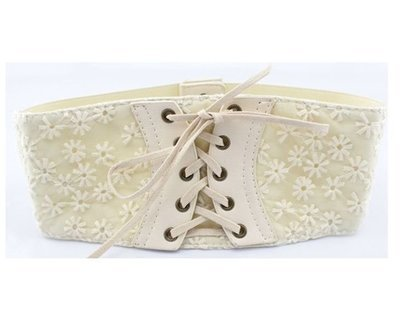 Embroidering lace flower wide stretch belt