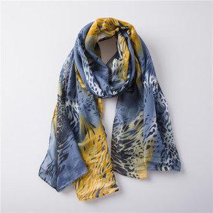 Yellow Grey leopard long scarf