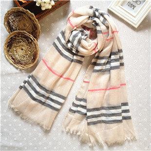 Beige plaids & checks long scarf