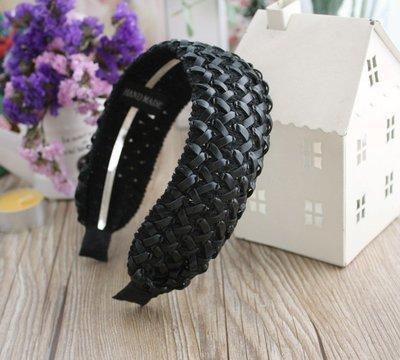 Black faux leather wide headband