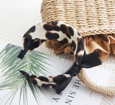 Black bow leopard headband