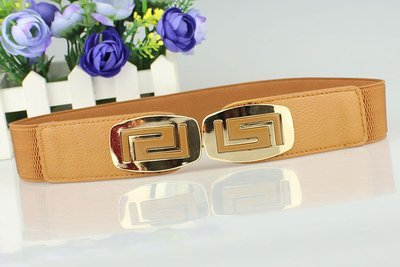 Gold plate buckle stretch belt