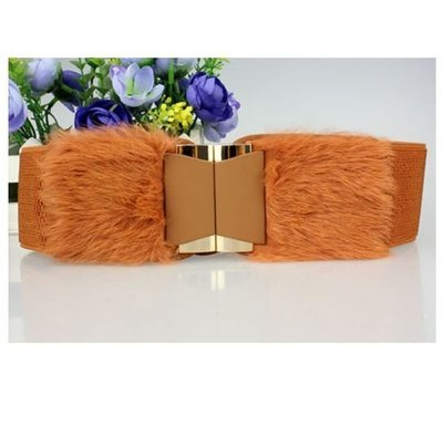 Synthetic fur stretch belt
