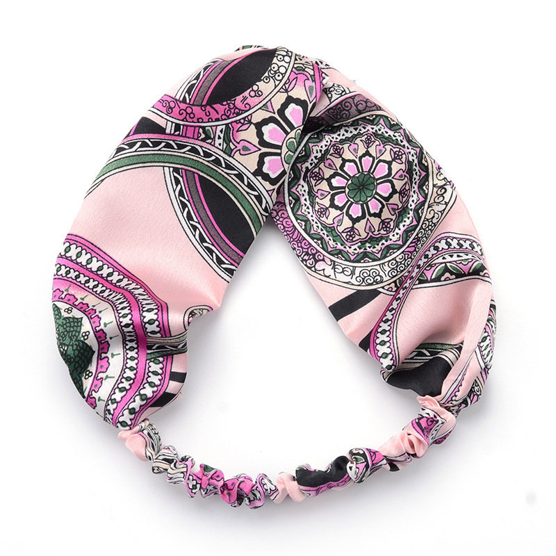 Floral pink satin turban headband