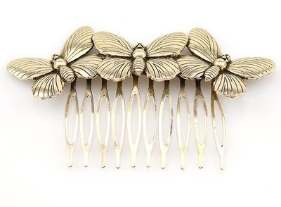 Triple butterflies hair comb