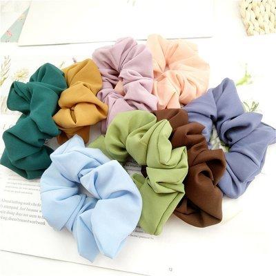 Macaroon chiffon plain scrunchies