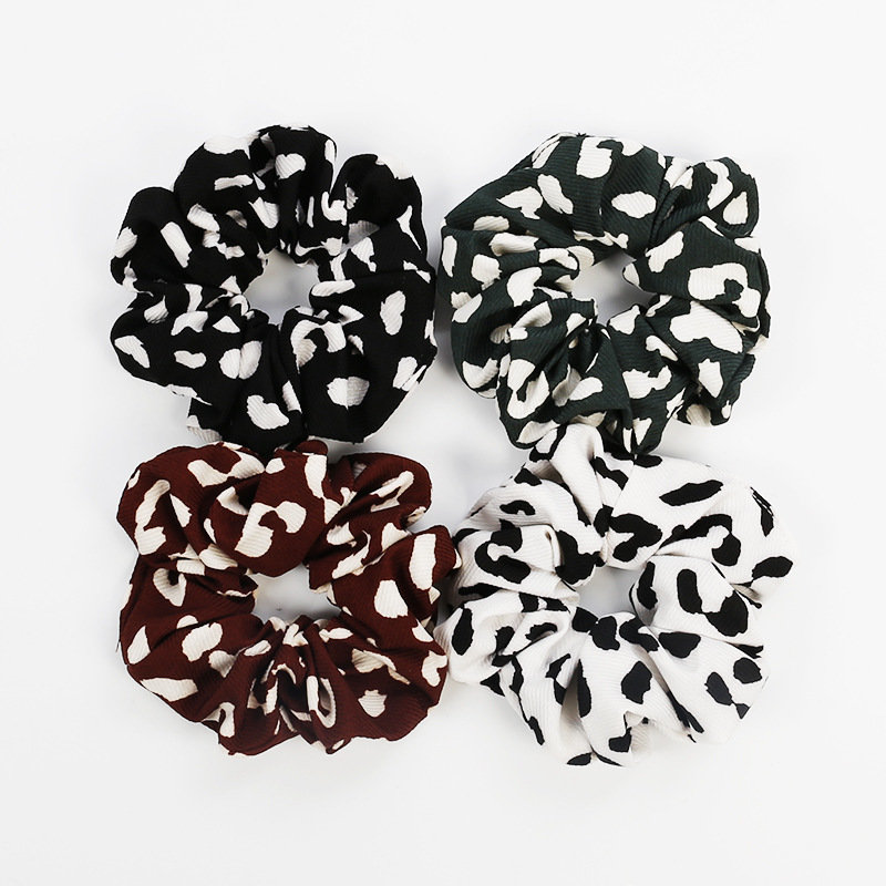 White leopard scrunchies