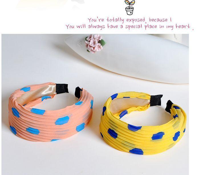 Chiffon dots wide headband 00033