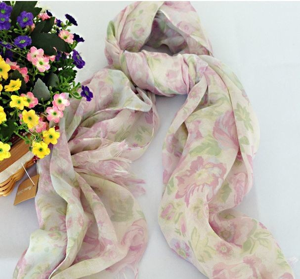 White pink flowers long scarf