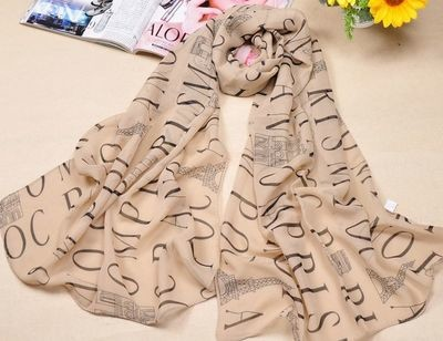 Letters pattern summer scarf