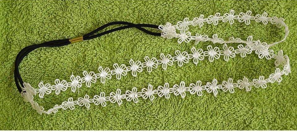 Lace double-wrap flower headband