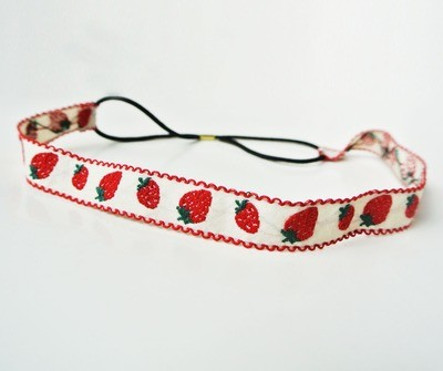 Strawberry-embroidered elastic headband