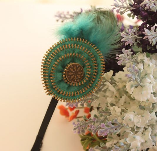 Feather zip bow headband
