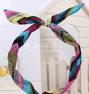 Rainbow Strips Pattern Head Wrap Hair Scarf Hair Bow Reshappable Wire Headband Girl's Accessories Hair Accessories