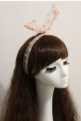 Dots voile ribbon twist hair scarf