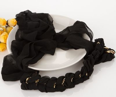 Black-chiffon gold-chain hand-braided hair scarf