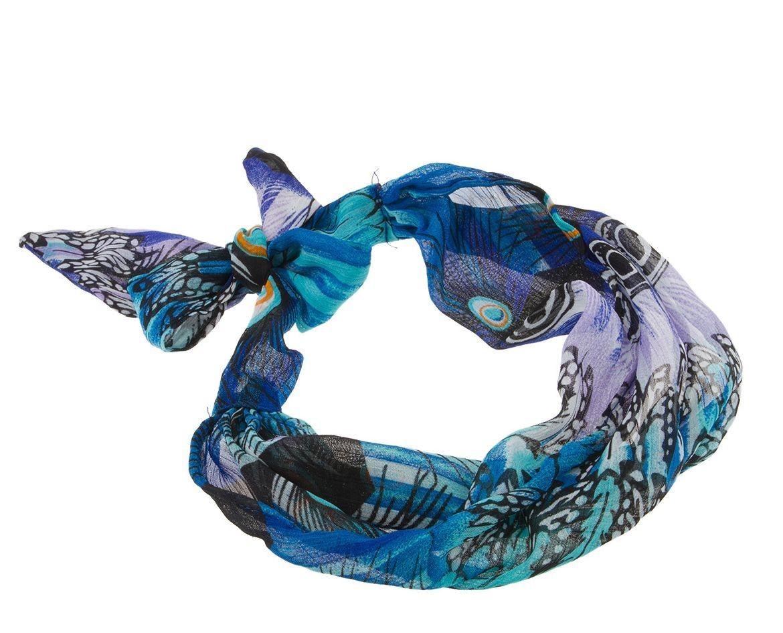 Printed blue chiffon bandanna head scarf