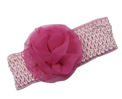Pink chiffon flower stretch lace headband