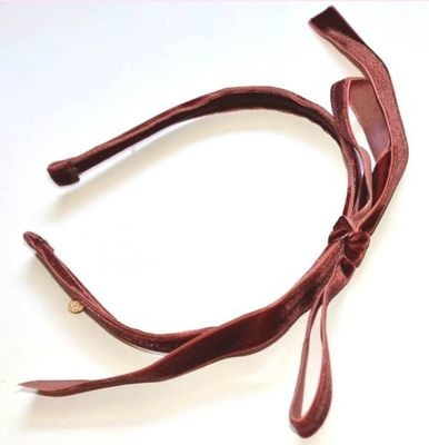 Velvet long ribbon bowknot headband