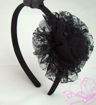 Black tulle pom headband