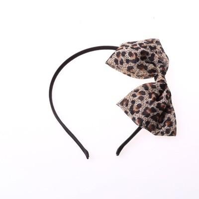 Thin leopard bow-tie headband