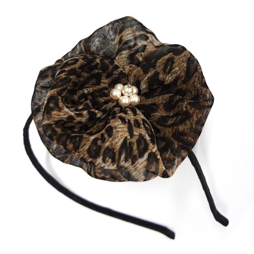 Leopard flower headband
