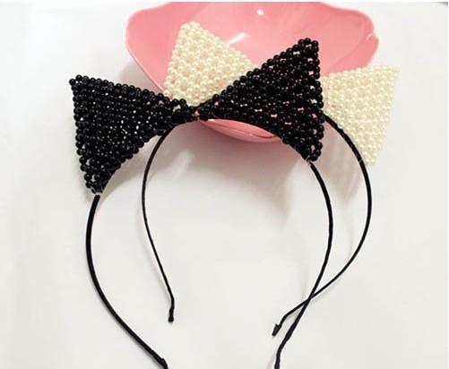 Pearl cat ears headband