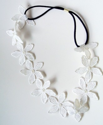 White orchid flowers elastic headband