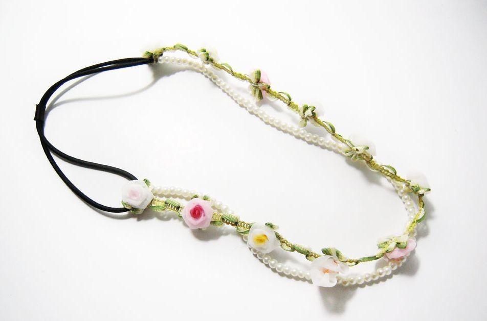 Silk flowers & white pearls elastic headband