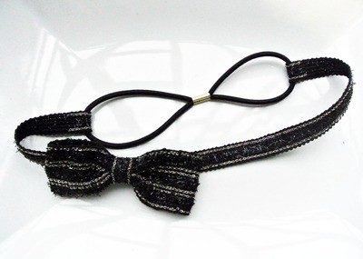 Black bow-tie elastic headband
