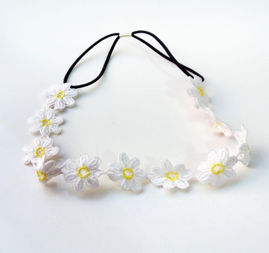 White Lace Yellow Daisy Flowers Headband Moosegirl