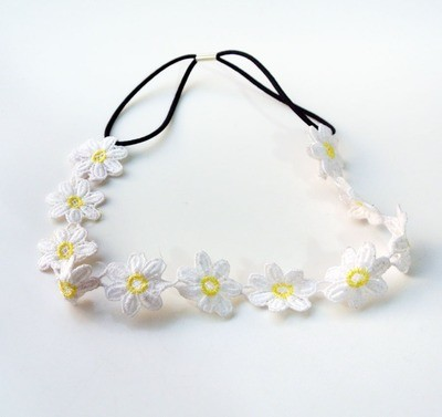 White lace yellow daisy flowers headband