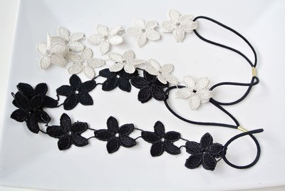 Silver black lace flowers elastic headband