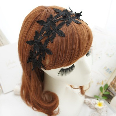 White Black lace flowers headband