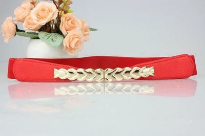 Golden fish bone buckle stretch belt