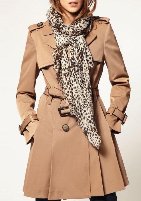 Beige black leopard extra long scarf