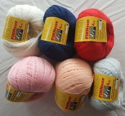 SUPER SPECIAL INTRO ONLY AU$8.50 each.         4ply FINNESSE superb supersoft finnsheep yarns, in six (6) colours 50g balls normally AU$10.95
