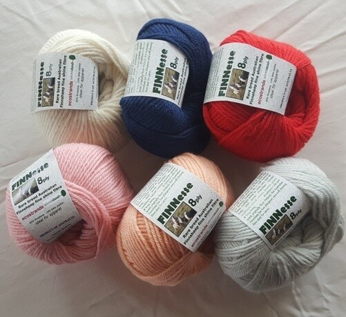 0 INTRODUCTION SPECIAL ONLY AU$8.50 each.           8ply FINNESSE superb supersoft Australian finnsheep yarns, in six (6) colours 50g balls normally AU$10.95