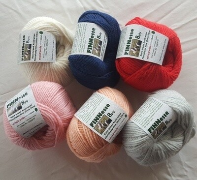 SUPER SPECIAL INTRO ONLY AU$8.50 each.           8ply FINNESSE superb supersoft Australian finnsheep yarns, in six (6) colours 50g balls normally AU$10.95