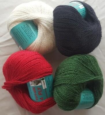 4ply SURI SILK superb baby suri (alpaca), lustrous fine finnsheep, silk blend - ivory, ebony, deep coral red, emerald green in 50g balls AU$11.95 each