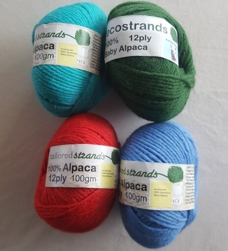 SUPER SPECIAL AU$15.00 12ply 100% Australian baby alpaca 100gram balls  normally AU$22.95/100g each - seachange, emerald, bright rufous red, ocean blue. Limited stock left.