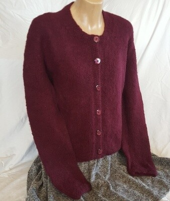 Brushed Ladies Cardi, Burgundy color.   Pre-Winter Special, normally $350.00