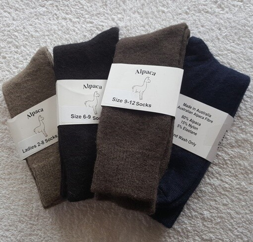Socks - made from Australian alpaca fibre in Australia.