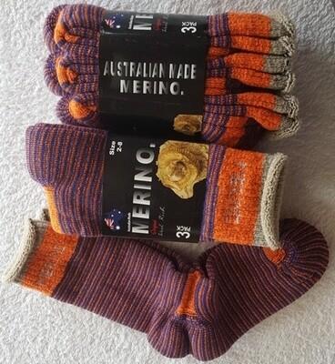 3pair packs Orange/blue Merino Socks - made in Australia, from Australian merino sheep fibre.